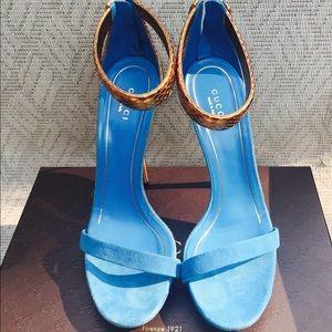 NIB Gucci Blue and Gold python Kelis sandals 39 9!